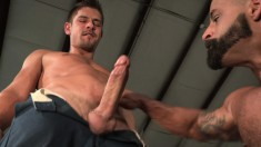 Handsome gay studs take turns deeply banging each other's hungry asses