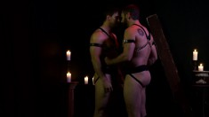 Two experienced gay studs get together to explore their dark fantasies