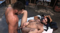 Bearded Construction Worker Has His Tight Asshole Stretched By His Horny Colleague