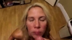 Amateur girlfriend gives pov blowjob with facial