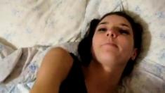 Cute Brunette Gets Pussy Covered In Cum