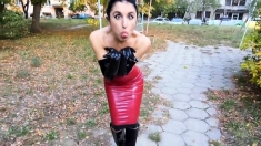 Hot Outdoor Action with Latex Fetish
