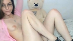 Brunette Teen In Glasses Orgasm On Webcam
