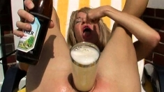 Solo fetish hoe toys her pussy with cucumber and loves it