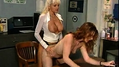 Doggystyle Lesbian Fingering at work