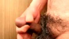Japanese mature man masturbation erect penis semen