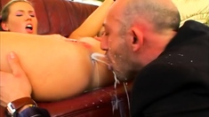 Blonde using two small toys